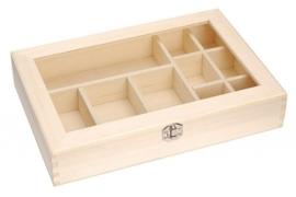 KN8735 706- 2 stuks houten kistjes met kunststof plaatje in het deksel en sluiting 31.5x22x6cm