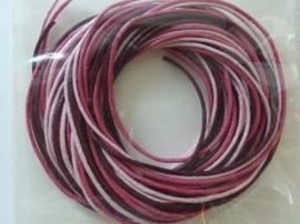 2290524- 3 rollen waxcord mix in rood/roze kleuren van 1mm dik en 1.70 meter lang