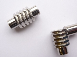 CH.059.1- magneetsluiting van 20x10mm voor bv leren veters van 6mm dik -ROESTVRIJSTAAL-