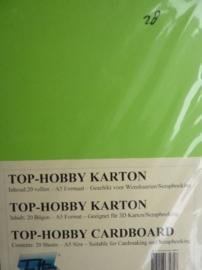 28- 20 vellen kaartkarton A5 formaat voor dubbele kaarten ca.225grams gras groen