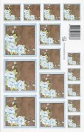 kn/1613- A4 knipvel Marjoleine blauw/bruine bloem -117141/1160