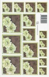 kn/1614- A4 knipvel Marjoleine groen/bruine bloem -117141/1161
