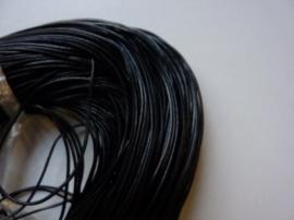 5 meter echt leren veter zwart van 1mm dik - AA kwaliteit - SUPERLAGE PRIJS!