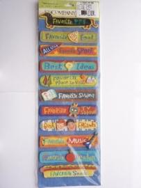 "5601- K&Co grand adh. chipboard 3D stickers ""favorites diverse teksten"" 30x12cm"