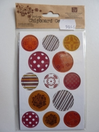 5946- Prima chipboard centers 13 stickers van 2 tot 2.5cm doorsnee retro 2 OPRUIMING