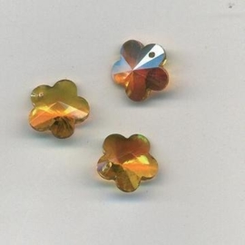 117471/0894- 4 x geslepen glashangers bloem 14mm licht geel AB