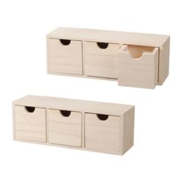 KN8735 698-  3 stuks houten ladenkastje 27x8x9.5cm