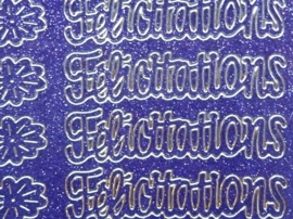 st1048- glitterstickervel paars met engelse tekst felicitations 10x20cm
