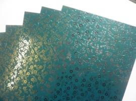 003078- 5 vellen fotokarton blauwgroen/zilver A4-formaat 350grams OPRUIMING
