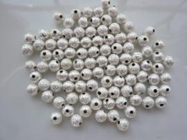 CH.248.100- 100 stuks metalen stardust kralen 6mm zilver - SUPERLAGE PRIJS!