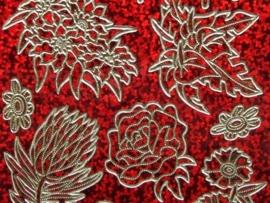 st 680- holografische stickers bloemen rood 10x20cm