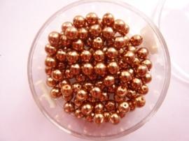 100 x ronde glasparels in een doosje 4mm brons  -  2219 571