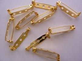 26mm - 10 stuks broche speldjes goudkleur -  met veiligheids sluiting