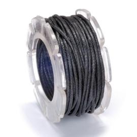 KN2290 480- 5 meter waxcord met nylonkern zwart 1mm dik