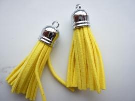 trosje met suede veters en bevestigingsoogje geel lengte:56mm dikte:12mm