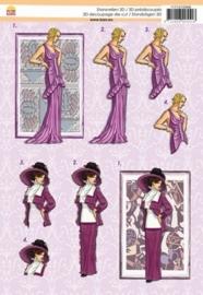 """kn/572- voorgestanst A4 3D knipvel """"kars"""" elegant ladies purple - 117147/2006"""