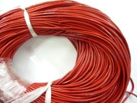100 meter echt leren veter rood van 2 mm. dik - AA kwaliteit - SUPERLAGE PRIJS!
