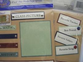 5493- Just Finger embellishments page kit school afbeeldingen 2 pagina`s van 20x20cm