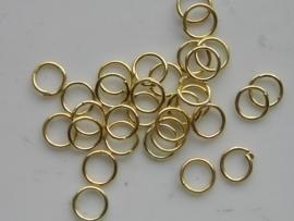 30 x enkele ringetjes 6mm goudkleur - dunne soort maar wel stevig