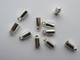 8x4mm dichte veterklemmen/koordkapjes verzilverd 10 stuks - CH039.10 - SUPERLAGE PRIJS!