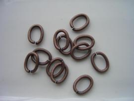 117465/1893 ovale schakelring 13x10mm rood koper