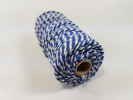 CE890030/3223- 43 mtr katoen macramé touw spoel 2mm 100grs - blauw/wit