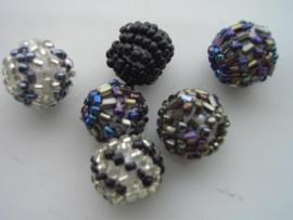 6 x kraal omwonden met rocailles zwart 117206/1413