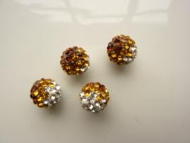 2340.330- strassbal van 10mm bruin/goud/zilver