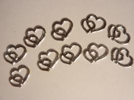 SLK203- 10 stuks dubbele hartjes 3D zilver 20x15mm OPRUIMING