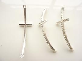 CH.390.D- metalen armband ornament kruis 55x15mm zilver SUPERLAGE PRIJS!