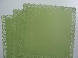 004001- 3 x scrapbook stansvellen 30.5x30.5cm lichtgroen decor OPRUIMING