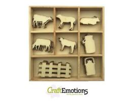 CE811500/0236- 40 stuks houten ornamentjes in een doosje koeien 10.5x10.5cm
