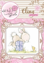 CE180017/3305- Wild Roses Studio cling stamp bunny and mouse