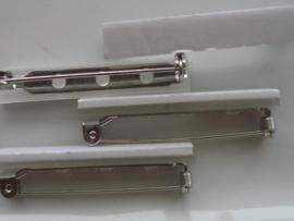 38mm - 4 stuks zelfklevende brochespeldjes staalkleur
