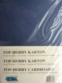 20- 20 vellen kaartkarton A5 formaat voor dubbele kaarten ca.225grams donker blauw