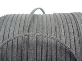 3 meter imitatie suede veter van 3mm breed zwart