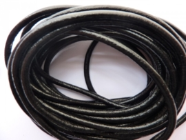 5 meter echt leren veter zwart van 3mm dik - AA kwaliteit - SUPERLAGE PRIJS!