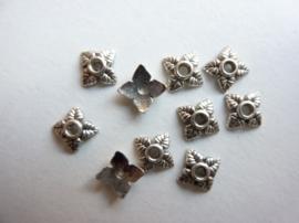 5mm kralenkapjes 10 stuks antiek zilverkleur - SUPERLAGE PRIJS!- CH.551