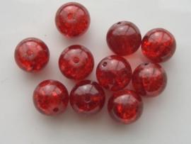 4071- 10 x qraccle glaskralen 12.5mm donker rood