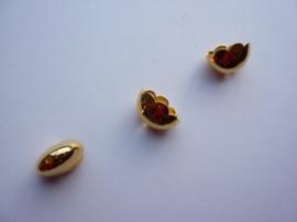 00157F- 2 stuks ovale koordkapjes van 14x7mm goudkleur OPRUIMING