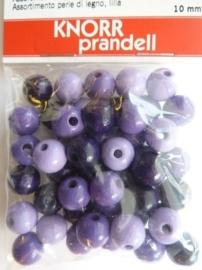 6013 005 - 50 stuks 10 mm. houten kralen paars/lila mix