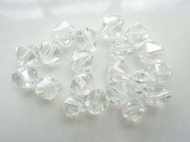 1963- 20 stuks geslepen glaskralen van 8x8mm bicone crystal helder