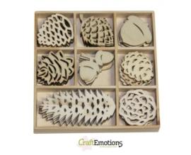 CE811500/0142- 40 stuks houten ornamentjes in een doosje winter 10.5x10.5cm