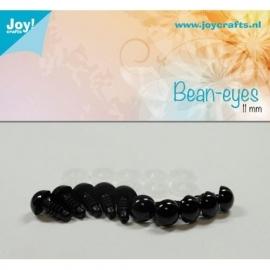 Joy6300/0614- 10 stuks bean ogen 11mm zwart