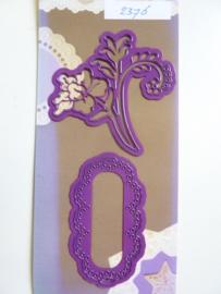0002376- Joy0033- stencil bloem en label 7cm OPRUIMING