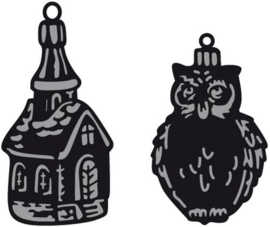 CE115639/1381- Marianne Design craftables Tiny's ornaments church & owl CR1381
