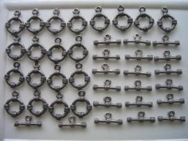 15mm kapittelslotjes donkerzilver per 20 stuks