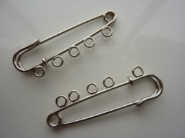 CH.352.2- 2 stuks schotse kiltspelden met 5 bevestigingsogen 5cm breed zilver kleur