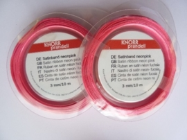 006302/0024- 10 meter satijnlint van 3mm breed op een rol neon roze