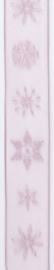 CE544344/2516- 10 meter lint met oudroze ijskristallen 25mm breed